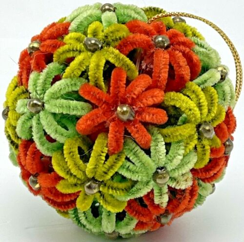 Vintage Christmas Ornament Chenille Pipe Cleaner Flowers Round Ball