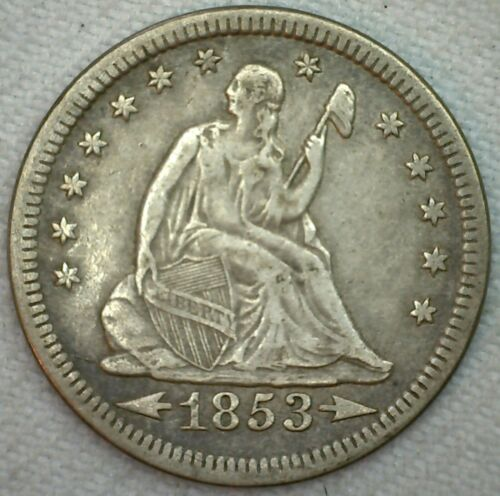 1853 Seated Liberty Arrows & Rays Silver Quarter 25c US Coin XF Extra Fine K47