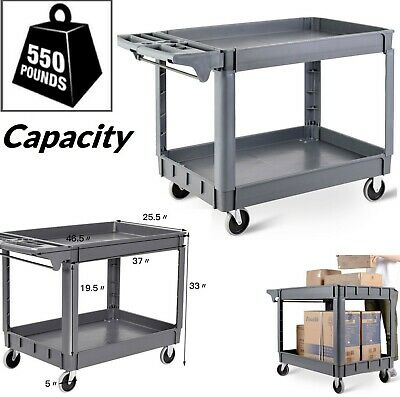 Plastic Utility Cart Rolling Service Heavy Duty Cart Tools Packages Carts 550 Lb