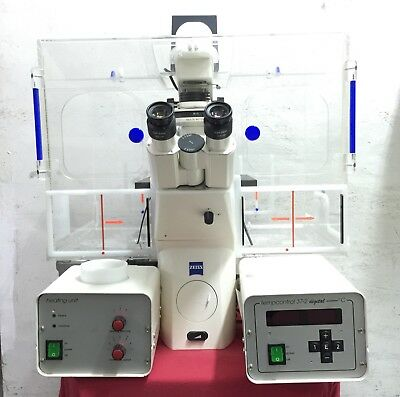 Zeiss Axiovert 200 Inverted Fluorescence Microscope W Zeiss Xl-3 Stage Incubatr