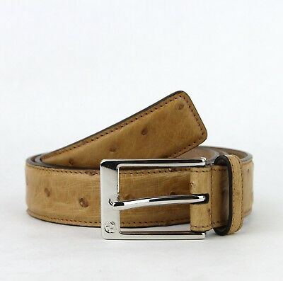 5c9b1c3f3 Gucci Men's Ostrich Yellow Leather Belt w/Square Silver Buckle 95/38 345658  7723