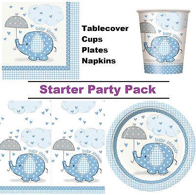 Blauer Elefant Baby Dusche 8-48 Gast Party Packung - Teller Becher Servietten