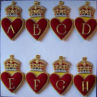 Royal Family Name Alphabet King Embroidery Heart Crown A B C D E F G H Patch MR (Family Crest Embroidery)