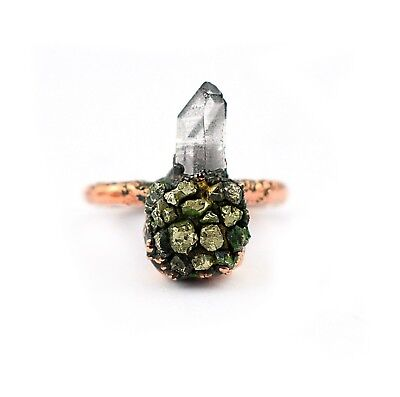 Quartz Antique Style Ring - Natural Raw Crystal Pyrite Gemstone Antique Vintage Style Stackable Ring Jewelry