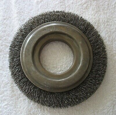 1 Vintage Advance Crimped Wire Brush Wheel 6 Dia W 2 Arbor Made In Usa