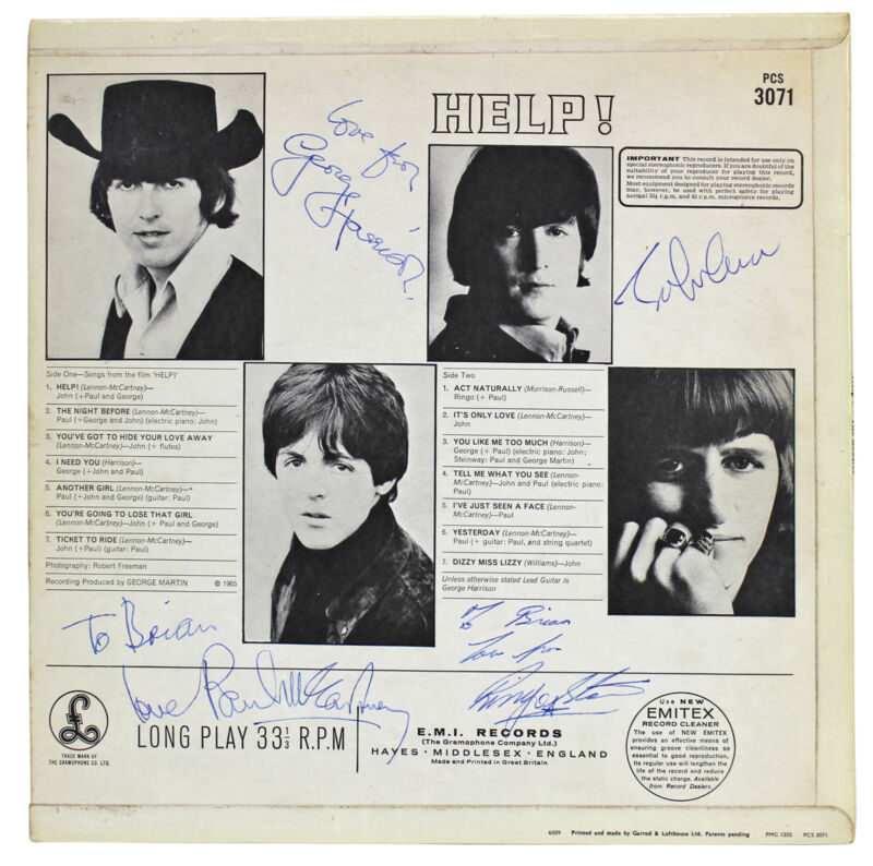 Beatles (4) Lennon, McCartney Signed 1965 Help! Album Cover BAS & Caiazzo LOAs