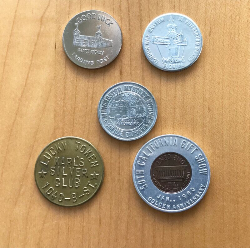 Lot of 5 Vintage Good Luck American Destinations Tokens
