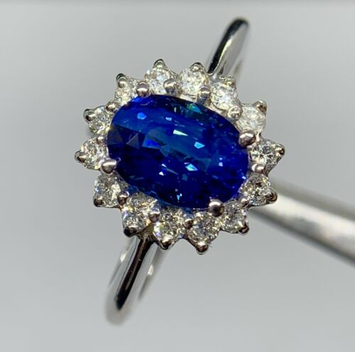 Stunning 2.5 Ct Intense Blue VVS Ceylon Sapphire & Diamond Ring 14K Gold
