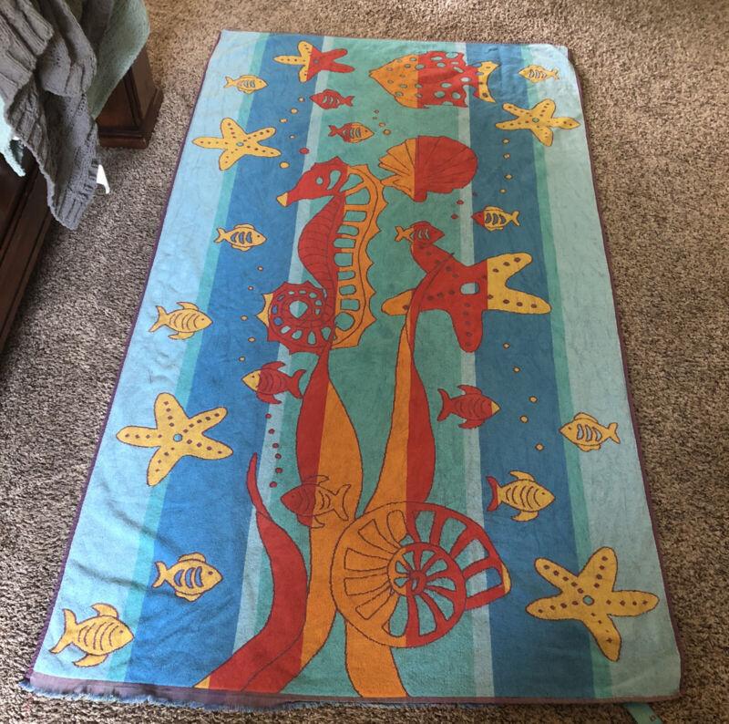 Vintage Terrisol Beach Towel 38 in. X 67 in. Seahorses And Fish Multicolor