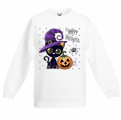 Happy Halloween Cat Cartoon Cute Children's Toddler Kids Sweatshirt Jumper ()