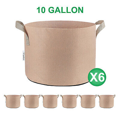 3/6/12/24-Pack 5 7 10 25 30 45 65 Gallon Tan Grow Bags Fabric Nursery Pots -