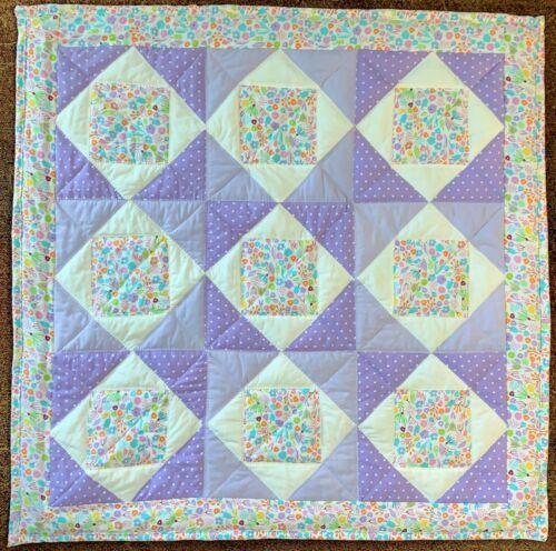 "Baby Quilt Handmade Girls Purple Floral Patchwork Crib Blanket 40""x 40"" NEW"