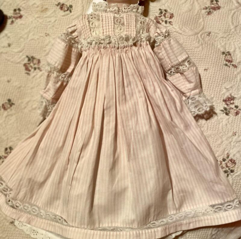 "Vintage Fancy Cotton Dress For 17-18"" French Or German Bisque Doll Or Early Doll"