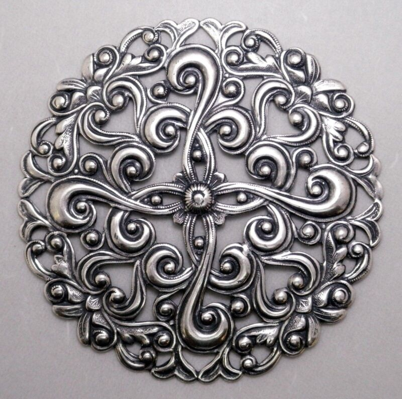 #4112 LARGE ROUND ANTIQUED SS/P OPEN FILIGREE - 1 Pc Lot