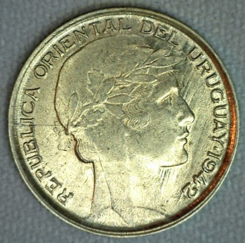 1942 Uruguay Silver 20 Centesimos BU Coin Brilliant Uncirculated Silver Coin