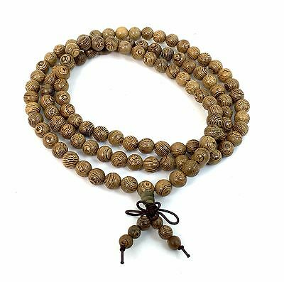 Wengue 108 Prayer Bead Mala Bracelet Necklace Buddhist Buddha Meditation 8mm
