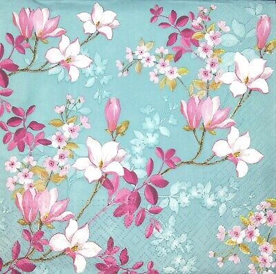 3 x Single Paper Napkins For Decoupage Craft Tissue Teal Magnolia Flowers M094