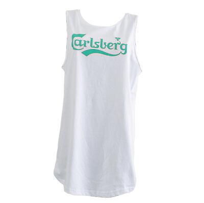 Camiseta Larga Carlsberg Vestido Suéter Talla M Mujer sin Mangas en Blanco...