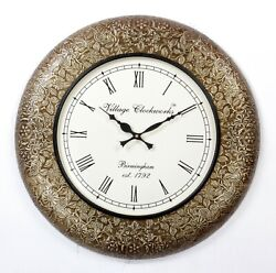 Vintage Home Decor Antique Look Brass Engraving Work Wall Clock India - 336