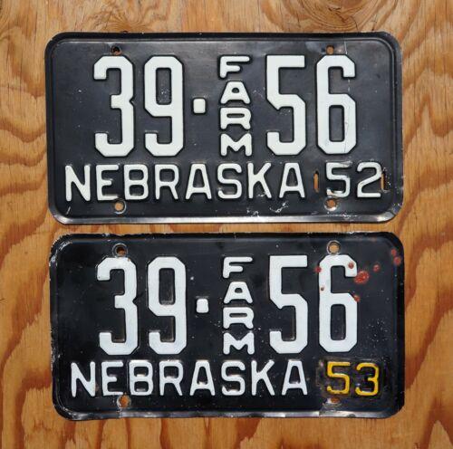 1952 1953 CHEYENNE County Nebraska FARM License Plate PAIR / SET