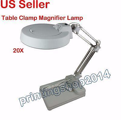 20X Loupes Glass Lens Diopter Desk Table Lighting LED Magnifier Lamp Light 110V
