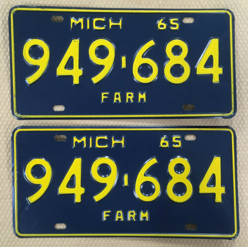 1965 Pair Michigan Farm License Plates Tag # 949-684 New NOS Sharp!