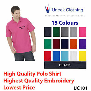 Custom embroidered polo shirt Uneek UC101 Personalised with your text - Workwear