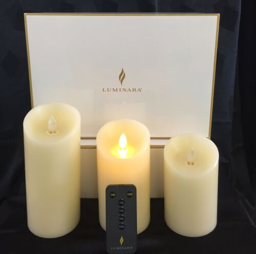 Luminara Flame Flicking Candle in Beige/Ivory set of 3 gift pak