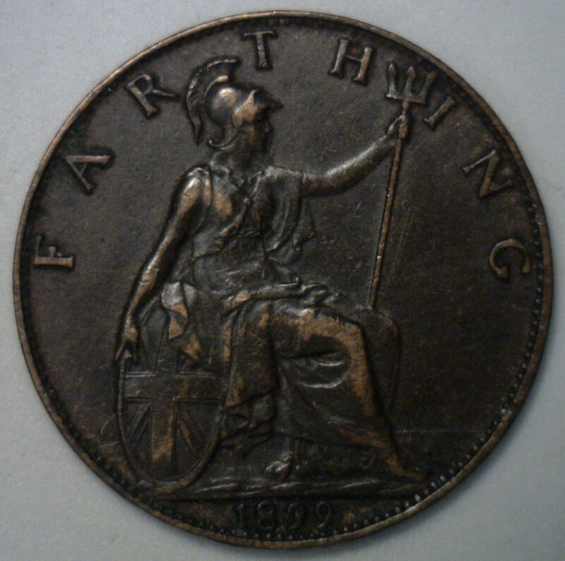 1899 Bronze Farthing Great Britain UK Coin XF