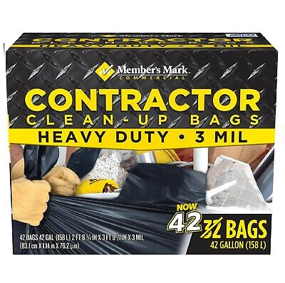 Large Heavy Duty Trash Bags 42 Commercial Contractor Clean Up Bags 42 (42 Gallon Contractor Bags)