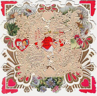 Valentine-Vintage-ca. 1890-1910-Unused Card w/ Embossed Paper Doily & Text - Paper Valentine
