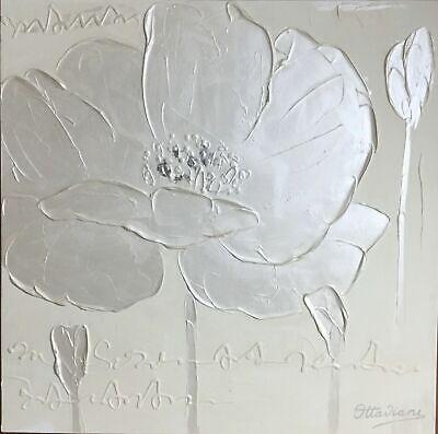 Panel decorativo pintado a mano Óleo sobre lienzo artístico cm 60X60 Firma