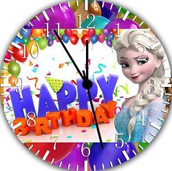 Frozen Kids Happy Birthday Frameless Borderless Wall Clock Nice For Gifts E300