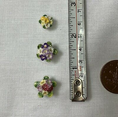 3x Minature Dolls House flower pots-dolls house minatures-vintage