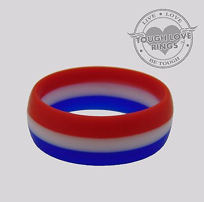 TRICOLOR - RED, WHITE, BLUE - TOUGH LOVE Silicone Wedding Ring - FAST/FREE SHIP