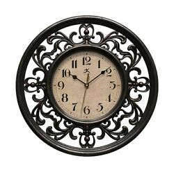 Infinity Instruments Sofia 12 inch Silent Sweep Wall Clock Antique Black
