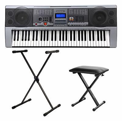Set Teclado Piano Electronico Profesional USB Mp3 61 Teclas Soporte y Banqueta