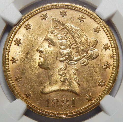 1881 NGC MS63 $10 LIBERTY HEAD GOLD