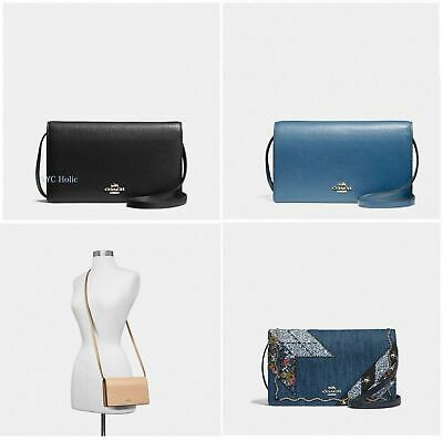 New Coach F30256 Foldover Clutch Crossbody In Pebble Leather With Gift Box