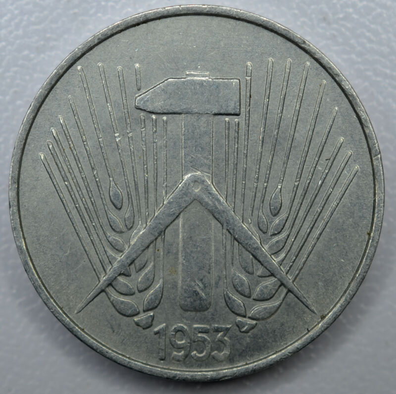 Germany DDR 10 Pfennig 1953 A AU/UNC aluminum KM#7 10P East Germany