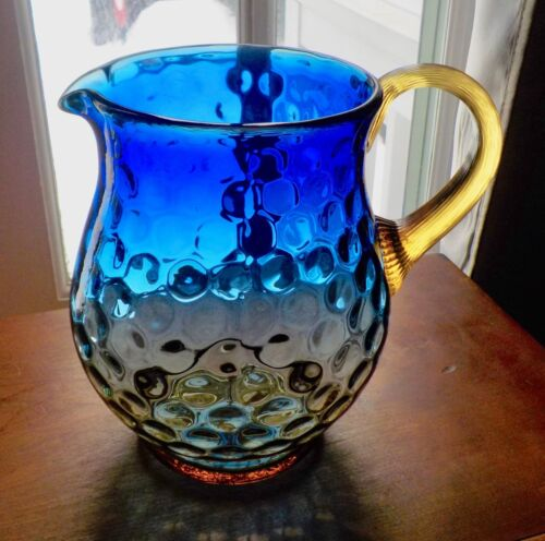 Antique Dark Blue & Amber Dot Optic Pitcher With Applied Handle