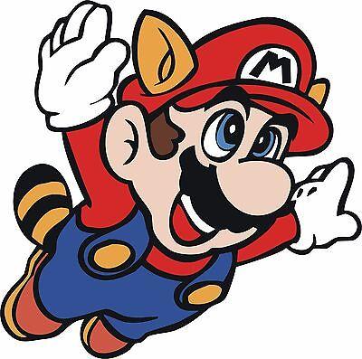 Super Mario SNES NES Mario Brothers Racoon Suit Flying Vinyl Sticker 4 Stickers - Mario Racoon