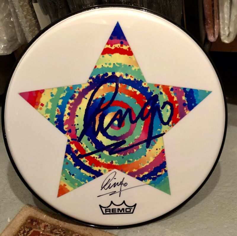 Beatles Ringo Starr Signed Autographed Starry Remo Drum Head *RARE