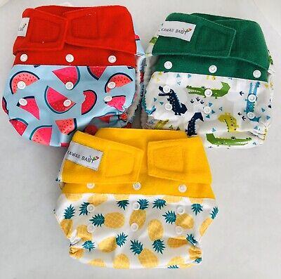 Lot Of 3 KaWaii Baby HD3 Pocket Cloth Diapers