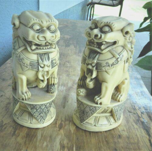 Oriental Vintage Rare Ivory Color carved Foo Dogs / Lions