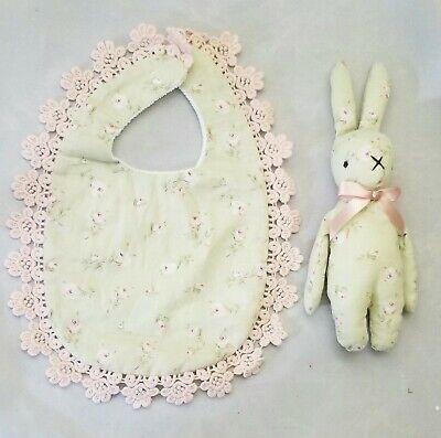 Flower Rose Baby Bib Bunny Toy Lace Beige Pink Girl Shower Gift Set 2 Handmade (Rose Burp Cloth Set)