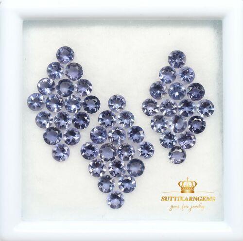 3 MM Natural Purple Iolite Round Cut Loose Gemstone Lot , Natural Gemstones