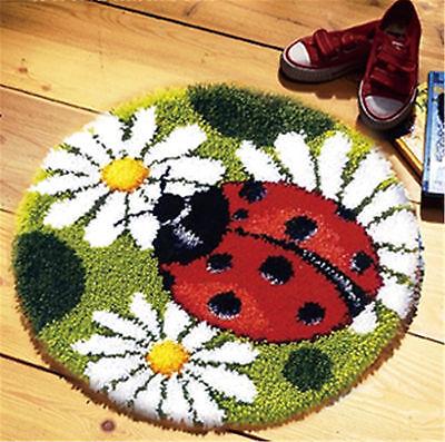 GEX Latch Hook Rug Kit About 19.6'' Cushion DIY Craft Embroidery Ladybug