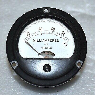 Weston Electrical Model 204 Panel Meter Ac Milliamperes 0-100 Ma Vintage