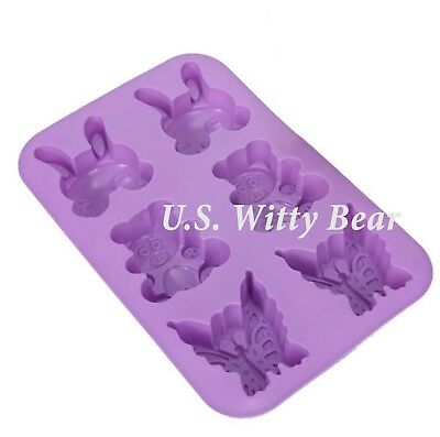 Rabbit Bear Butterfly Shaped Silicone DIY Handmade Soap Mold ~ US Seller